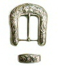 Plain silver buckle with raised pattern motif
