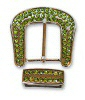 ladies green crystal belt buckle