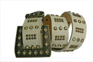 Cream crackled leather designer belt