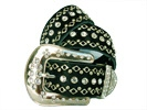 Black leather Swarovski crystal bling belt